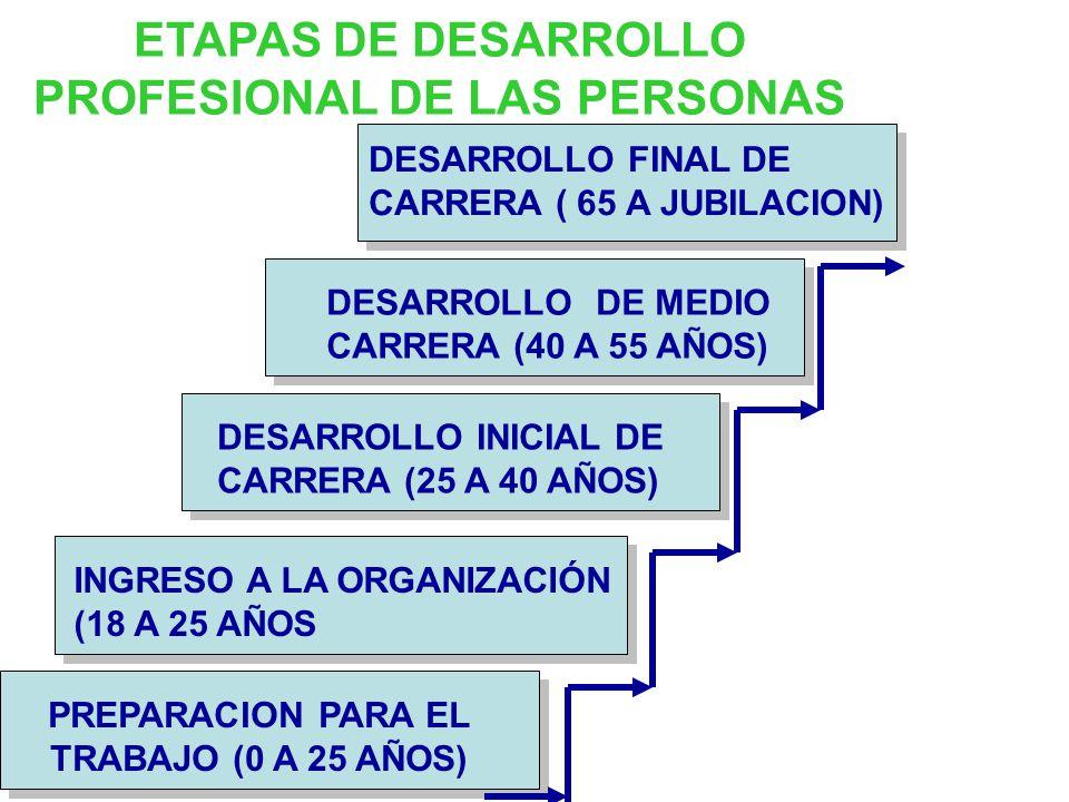 ETAPAS DE DESARROLLO PROFESIONAL DE LAS PERSONAS DESARROLLO FINAL DE CARRERA ( 65 A JUBILACION) DESARROLLO INICIAL DE CARRERA (25 A 40 AÑOS) DESARROLLO DE MEDIO CARRERA (40 A 55 AÑOS) INGRESO A LA ORGANIZACIÓN (18 A 25 AÑOS PREPARACION PARA EL TRABAJO (0 A 25 AÑOS)