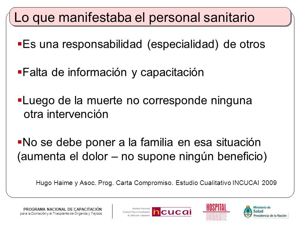 PROGRAMA NACIONAL DE CAPACITACIÓN para la Donación y el Trasplante de Órganos y Tejidos Lo que manifestaba el personal sanitario Es una responsabilida