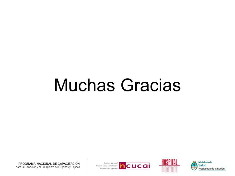 PROGRAMA NACIONAL DE CAPACITACIÓN para la Donación y el Trasplante de Órganos y Tejidos Muchas Gracias