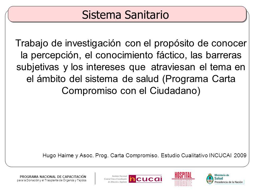 PROGRAMA NACIONAL DE CAPACITACIÓN para la Donación y el Trasplante de Órganos y Tejidos Sistema Sanitario Trabajo de investigación con el propósito de