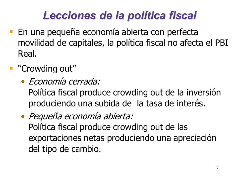 7 Lecciones de la política fiscal En una pequeña economía abierta con perfecta movilidad de capitales, la política fiscal no afecta el PBI Real. Crowd