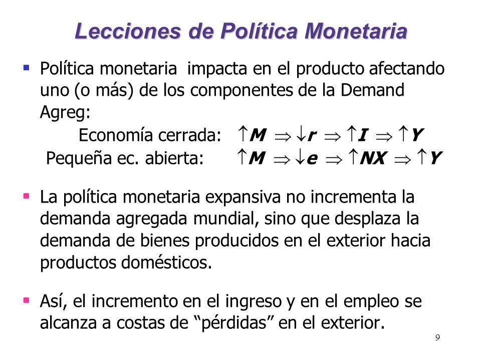 9 Lecciones de Política Monetaria Política monetaria impacta en el producto afectando uno (o más) de los componentes de la Demand Agreg: Economía cerr