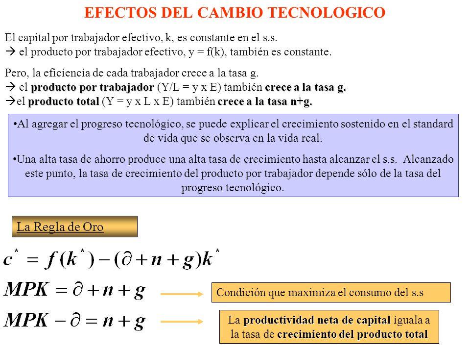 EFECTOS DEL CAMBIO TECNOLOGICO El capital por trabajador efectivo, k, es constante en el s.s.
