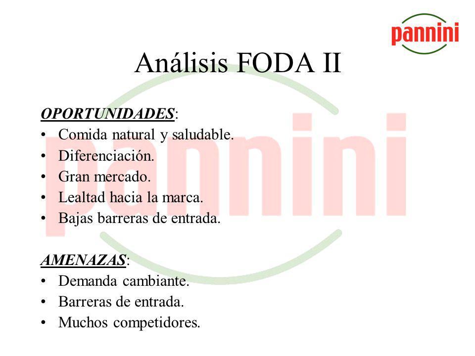 Análisis FODA FORTALEZAS: Precio accesible. Producto estandarizado. Producto natural y de calidad adaptado al gusto local. Diferenciación de servicio.