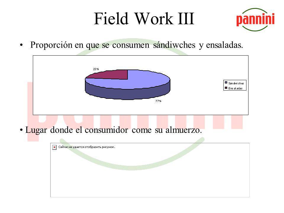 Field Work II La segunda encuesta fue hecha para identificar las características de los potenciales consumidores. Fue realizada en locales tipo A y ti