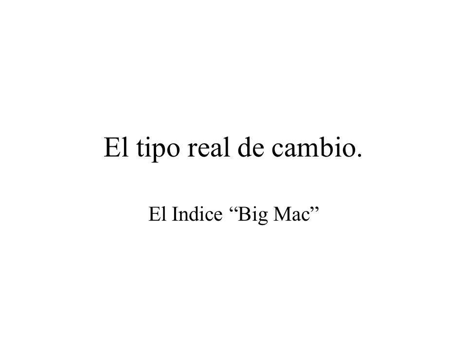 El tipo real de cambio. El Indice Big Mac