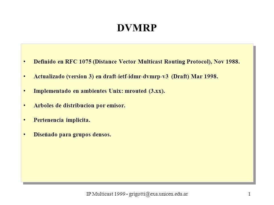 IP Multicast 1999 - grigotti@exa.unicen.edu.ar1 DVMRP Definido en RFC 1075 (Distance Vector Multicast Routing Protocol), Nov 1988. Actualizado (versio