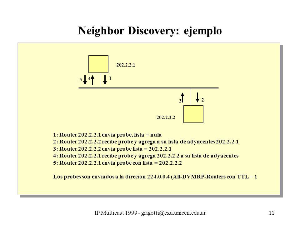 IP Multicast 1999 - grigotti@exa.unicen.edu.ar11 Neighbor Discovery: ejemplo 1: Router 202.2.2.1 envia probe, lista = nula 2: Router 202.2.2.2 recibe