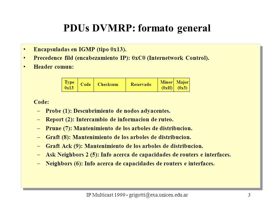IP Multicast 1999 - grigotti@exa.unicen.edu.ar3 PDUs DVMRP: formato general Encapsuladas en IGMP (tipo 0x13). Precedence fild (encabezamiento IP): 0xC