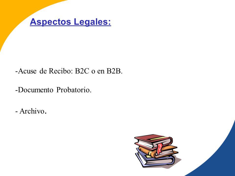-Acuse de Recibo: B2C o en B2B. -Documento Probatorio. - Archivo. Aspectos Legales: