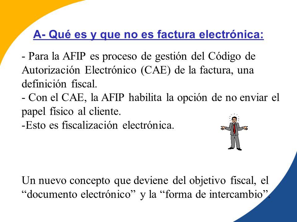 - Para la AFIP es proceso de gestión del Código de Autorización Electrónico (CAE) de la factura, una definición fiscal.