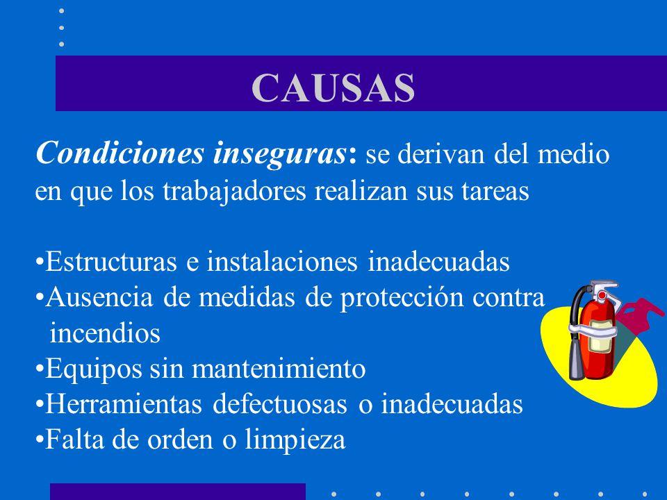 CAUSAS Condiciones inseguras: se derivan del medio en que los trabajadores realizan sus tareas Estructuras e instalaciones inadecuadas Ausencia de med
