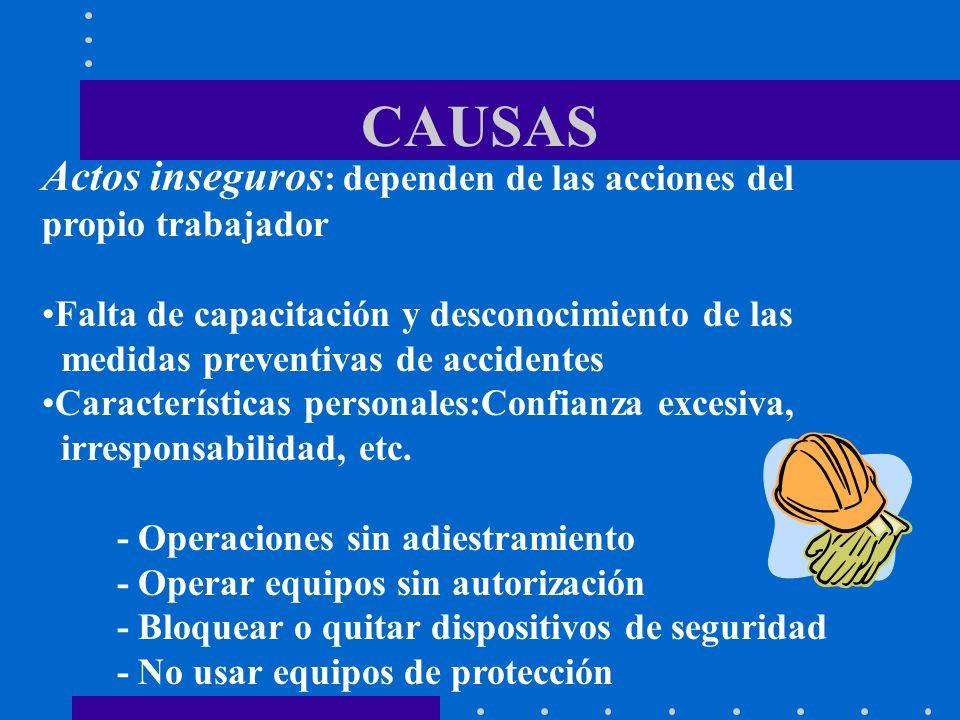 Actos inseguros : dependen de las acciones del propio trabajador Falta de capacitación y desconocimiento de las medidas preventivas de accidentes Cara