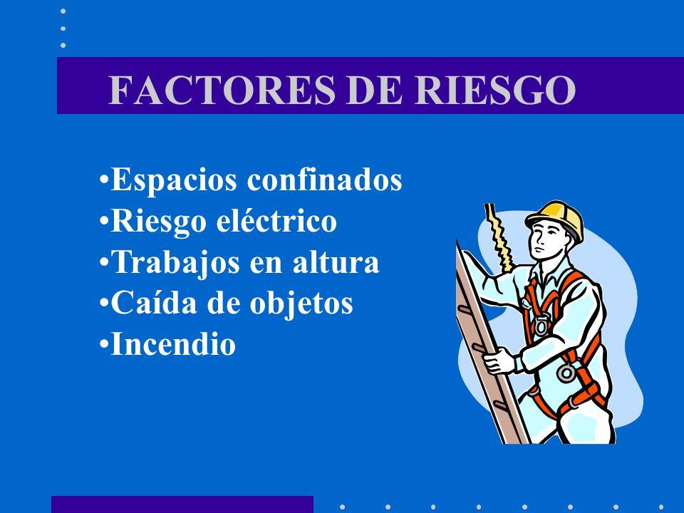 FACTORES DE RIESGO Espacios confinados Riesgo eléctrico Trabajos en altura Caída de objetos Incendio