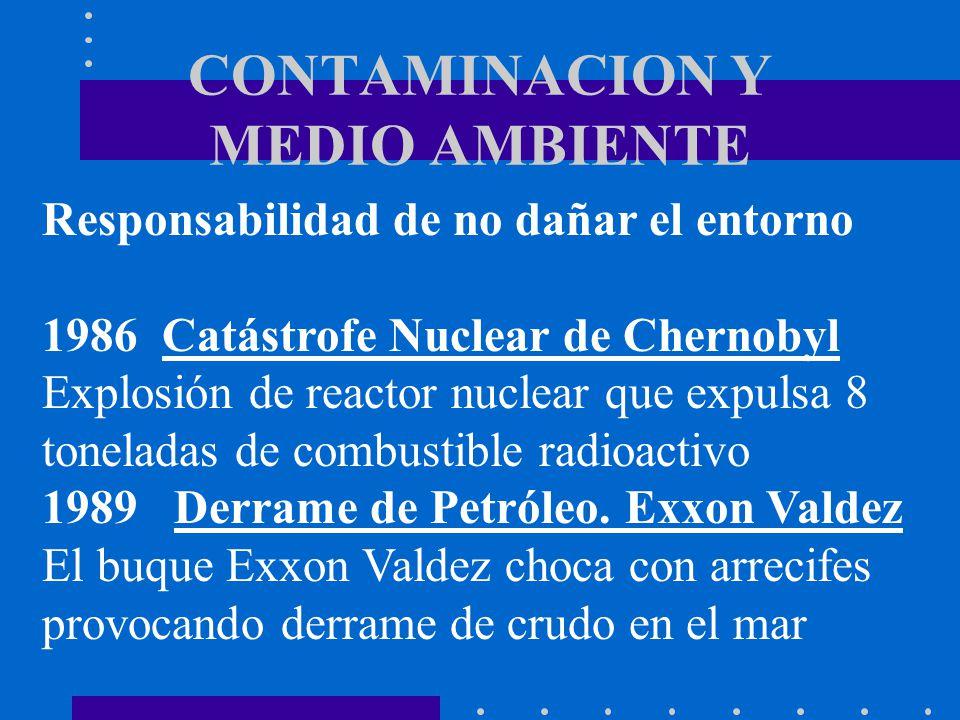 CONTAMINACION Y MEDIO AMBIENTE Responsabilidad de no dañar el entorno 1986 Catástrofe Nuclear de Chernobyl Explosión de reactor nuclear que expulsa 8