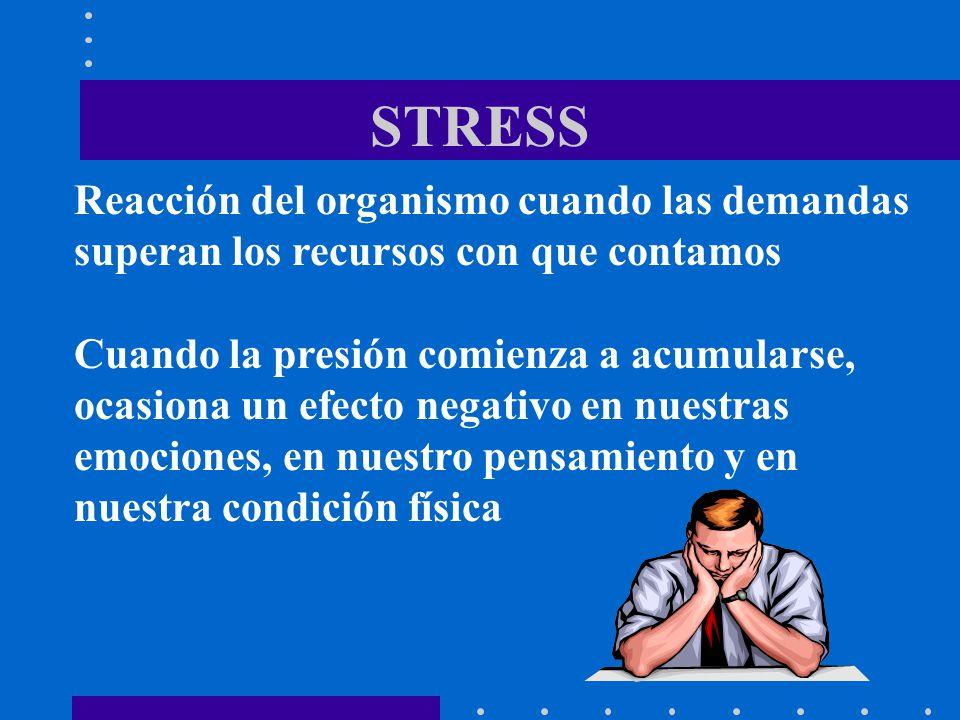 STRESS Reacción del organismo cuando las demandas superan los recursos con que contamos Cuando la presión comienza a acumularse, ocasiona un efecto ne