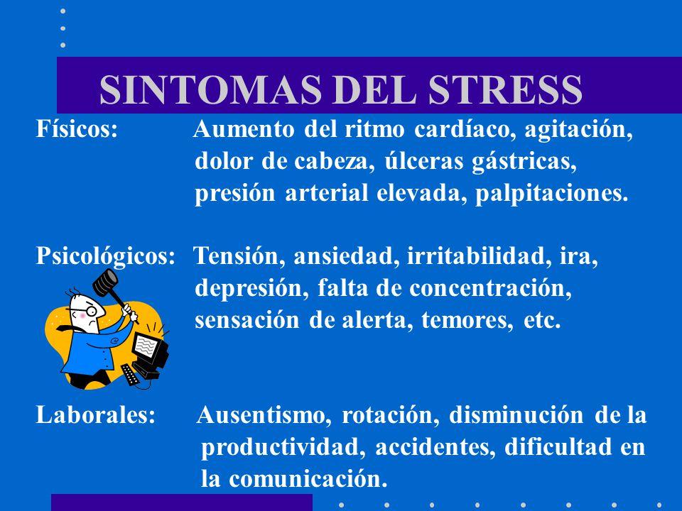 SINTOMAS DEL STRESS Físicos: Aumento del ritmo cardíaco, agitación, dolor de cabeza, úlceras gástricas, presión arterial elevada, palpitaciones. Psico