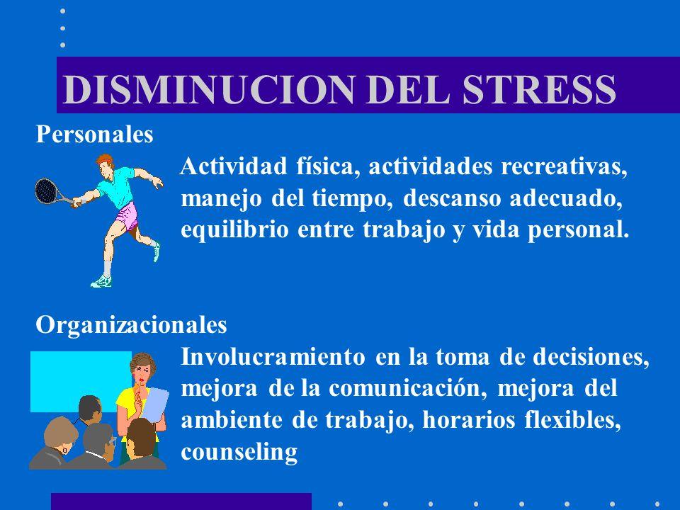 DISMINUCION DEL STRESS Personales Actividad física, actividades recreativas, manejo del tiempo, descanso adecuado, equilibrio entre trabajo y vida per