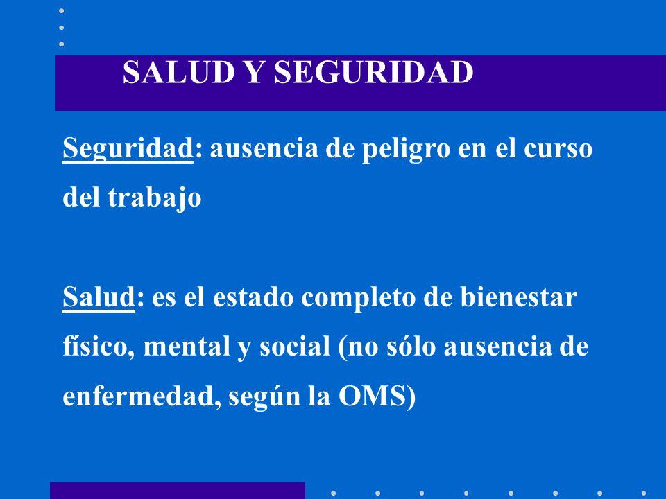 Seguridad: ausencia de peligro en el curso del trabajo Salud: es el estado completo de bienestar físico, mental y social (no sólo ausencia de enfermed