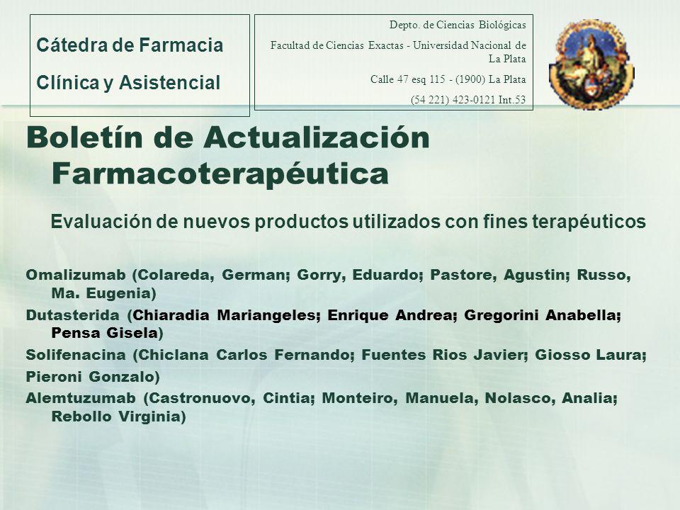 Boletín de Actualización Farmacoterapéutica Evaluación de nuevos productos utilizados con fines terapéuticos Omalizumab (Colareda, German; Gorry, Edua