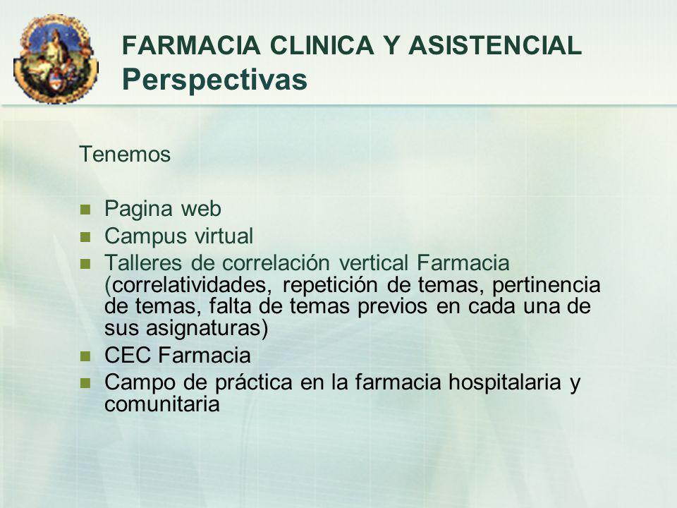 Tenemos Pagina web Campus virtual Talleres de correlación vertical Farmacia (correlatividades, repetición de temas, pertinencia de temas, falta de tem