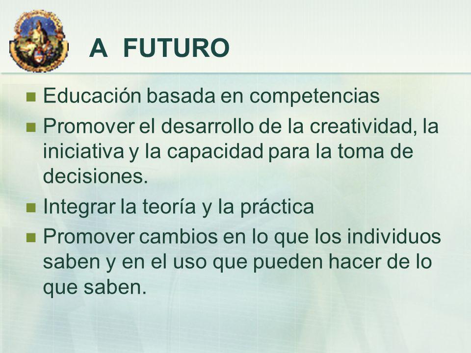 A FUTURO Educación basada en competencias Promover el desarrollo de la creatividad, la iniciativa y la capacidad para la toma de decisiones. Integrar