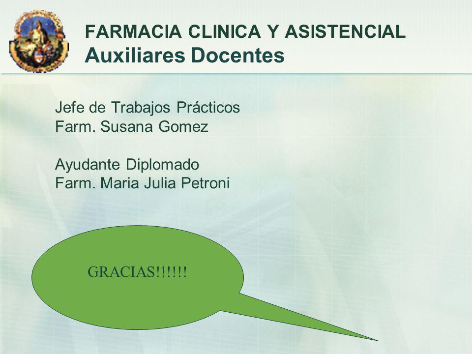 Jefe de Trabajos Prácticos Farm. Susana Gomez Ayudante Diplomado Farm. Maria Julia Petroni FARMACIA CLINICA Y ASISTENCIAL Auxiliares Docentes GRACIAS!
