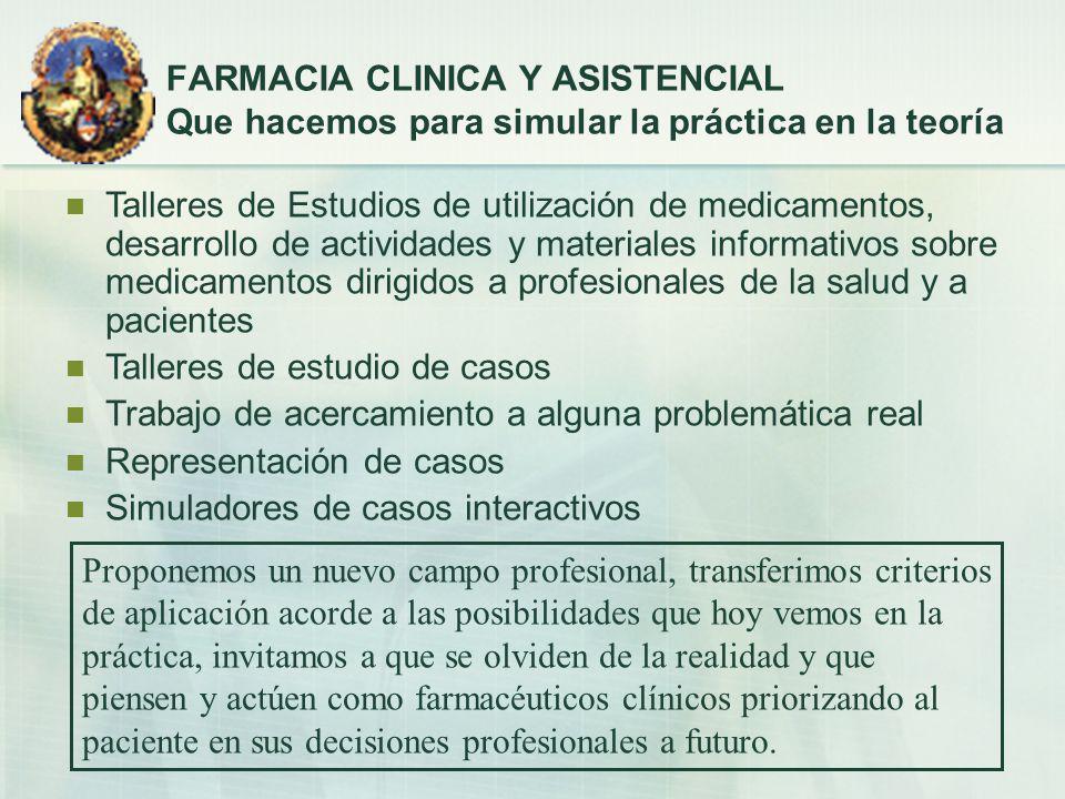 FARMACIA CLINICA Y ASISTENCIAL Que hacemos para simular la práctica en la teoría Talleres de Estudios de utilización de medicamentos, desarrollo de ac
