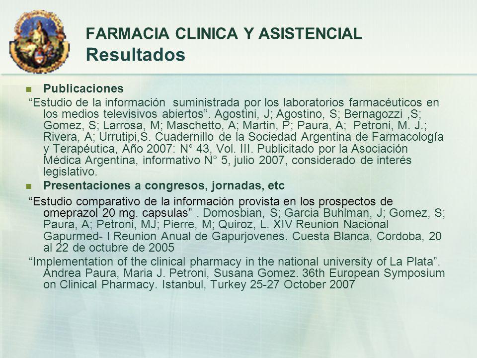 Proyecto de Extensión Creación de una consultoría farmacéutica de asistencia a la comunidad en problemas relacionados con medicamentos.