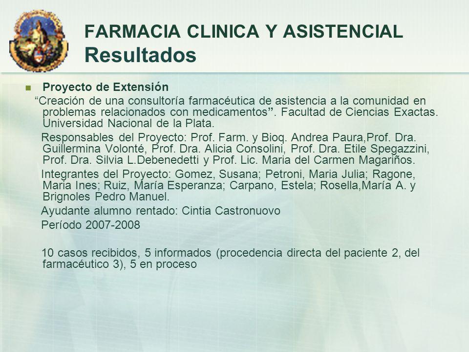 Proyecto de Extensión Creación de una consultoría farmacéutica de asistencia a la comunidad en problemas relacionados con medicamentos. Facultad de Ci