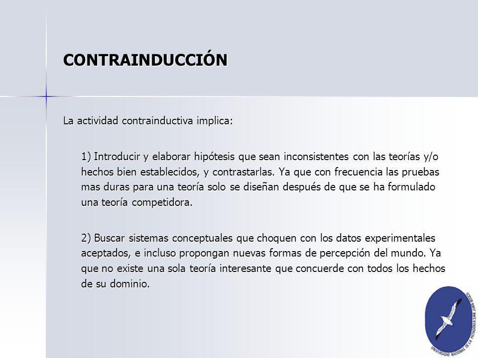 La actividad contrainductiva implica: 1) Introducir y elaborar hipótesis que sean inconsistentes con las teorías y/o hechos bien establecidos, y contr