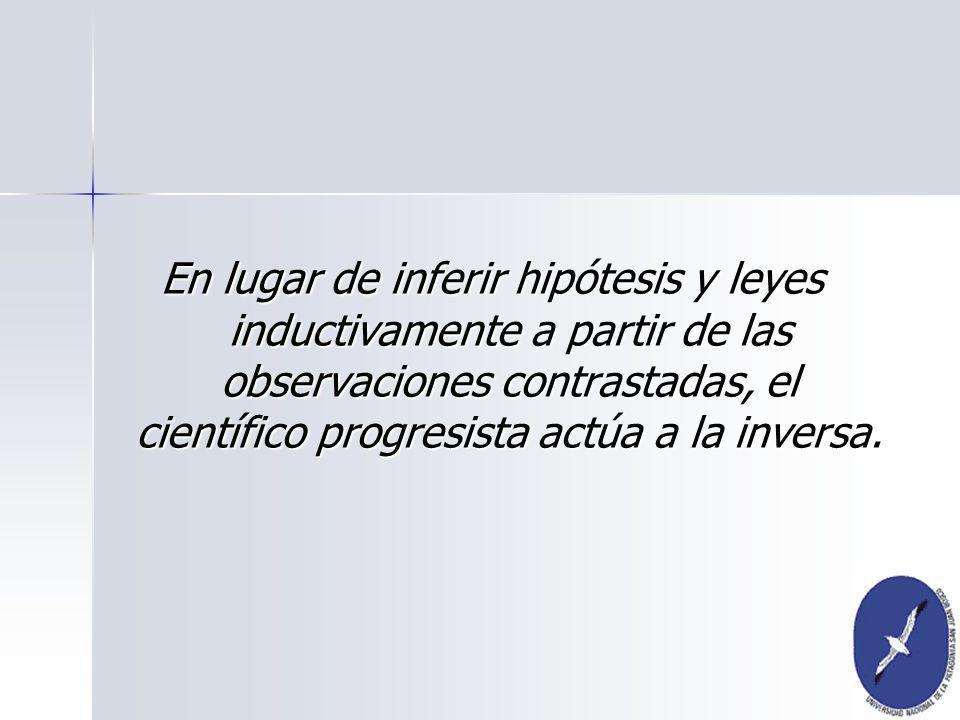 En lugar de inferir hipótesis y leyes inductivamente a partir de las observaciones contrastadas, el científico progresista actúa a la inversa.
