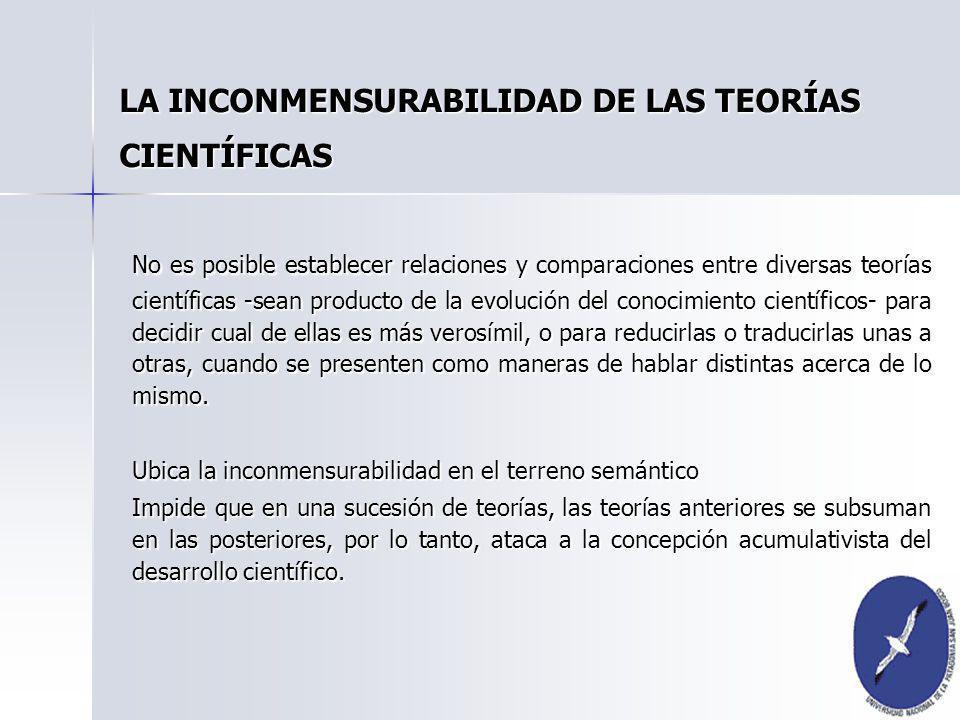 No es posible establecer relaciones y comparaciones entre diversas teorías científicas -sean producto de la evolución del conocimiento científicos- pa