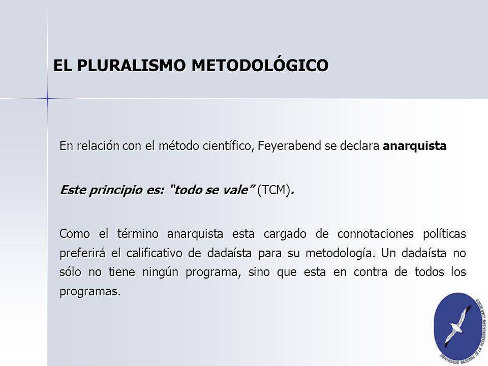En relación con el método científico, Feyerabend se declara anarquista Este principio es: todo se vale (TCM). Como el término anarquista esta cargado