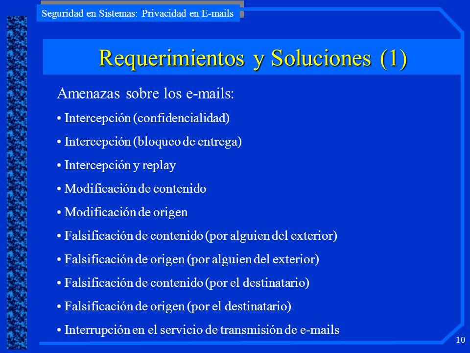 Seguridad en Sistemas: Privacidad en E-mails 10 Requerimientos y Soluciones (1) Amenazas sobre los e-mails: Intercepción (confidencialidad) Intercepci