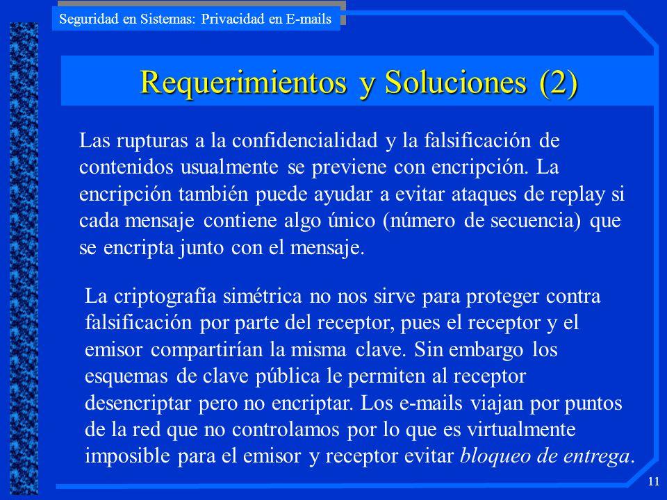 Seguridad en Sistemas: Privacidad en E-mails 11 Requerimientos y Soluciones (2) Las rupturas a la confidencialidad y la falsificación de contenidos us
