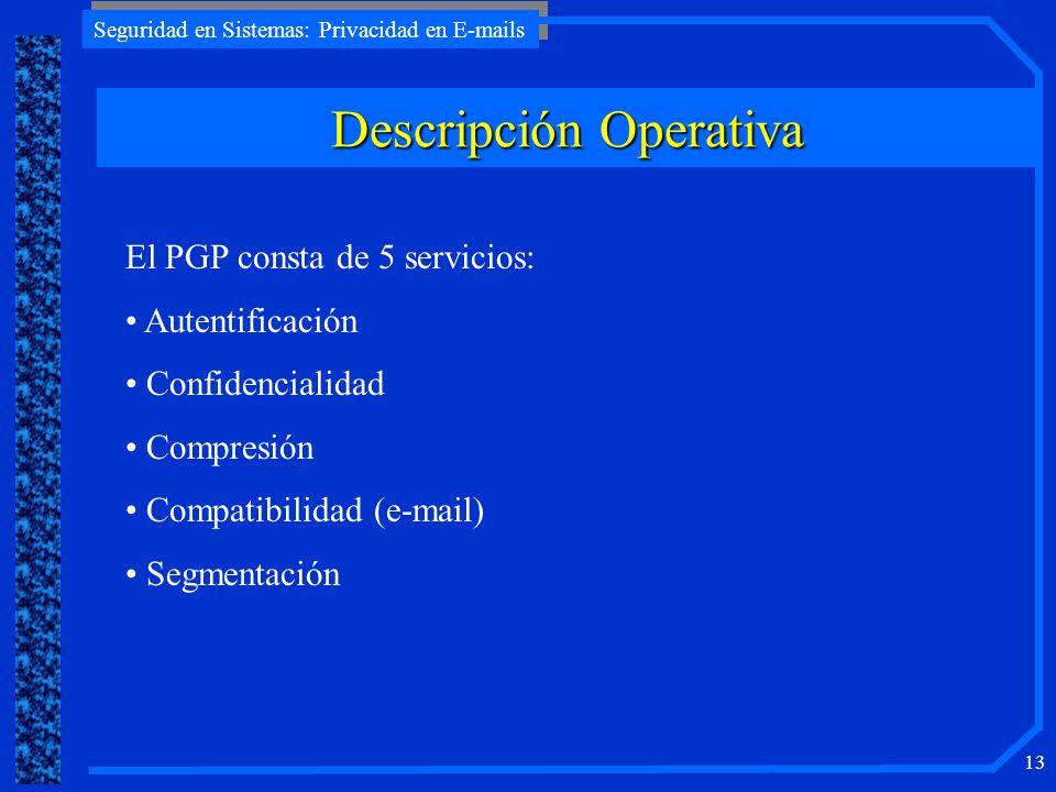 Seguridad en Sistemas: Privacidad en E-mails 13 Descripción Operativa El PGP consta de 5 servicios: Autentificación Confidencialidad Compresión Compat
