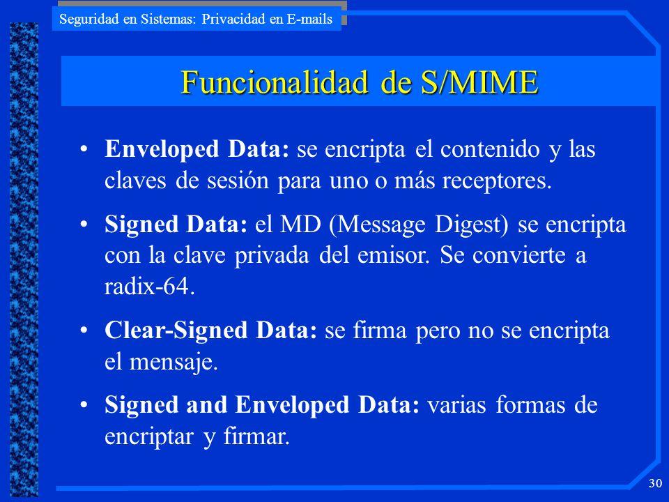 Seguridad en Sistemas: Privacidad en E-mails 30 Funcionalidad de S/MIME Enveloped Data: se encripta el contenido y las claves de sesión para uno o más