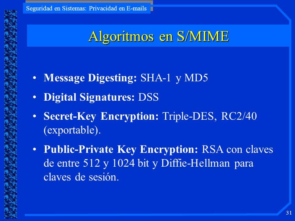 Seguridad en Sistemas: Privacidad en E-mails 31 Algoritmos en S/MIME Message Digesting: SHA-1 y MD5 Digital Signatures: DSS Secret-Key Encryption: Tri