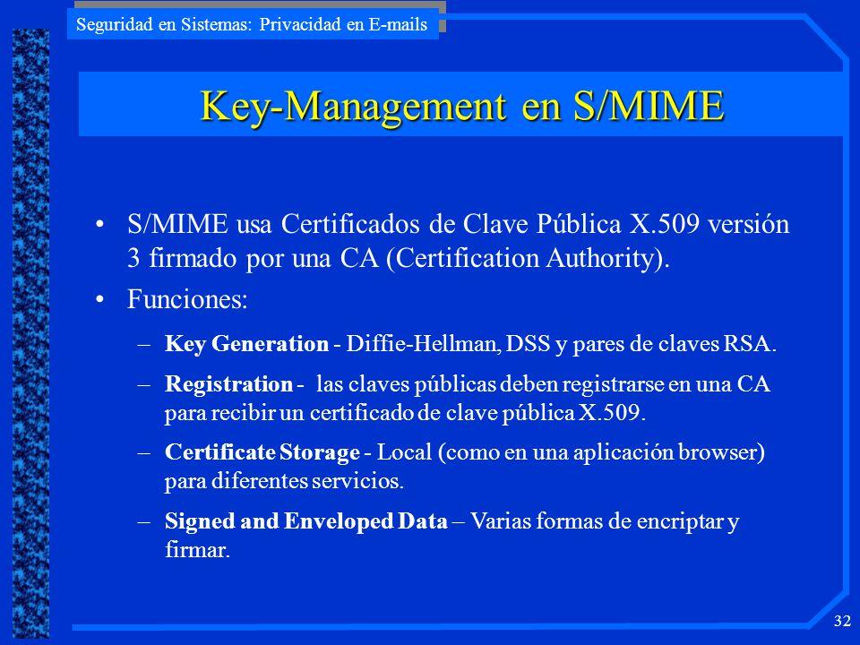 Seguridad en Sistemas: Privacidad en E-mails 32 Key-Management en S/MIME S/MIME usa Certificados de Clave Pública X.509 versión 3 firmado por una CA (