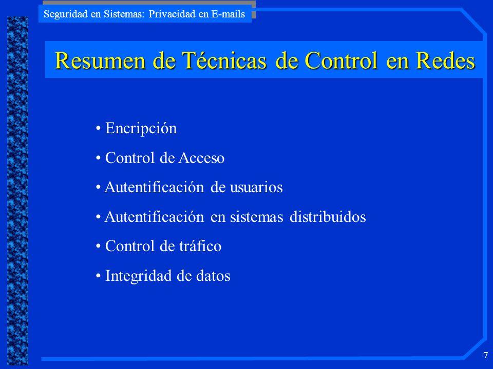 Seguridad en Sistemas: Privacidad en E-mails 7 Resumen de Técnicas de Control en Redes Encripción Control de Acceso Autentificación de usuarios Autent