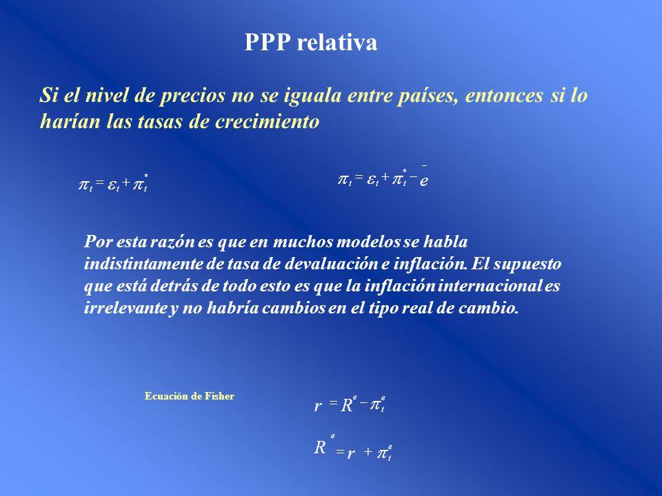 PPP relativa Si el nivel de precios no se iguala entre países, entonces si lo harían las tasas de crecimiento * ttt e ttt * Por esta razón es que en muchos modelos se habla indistintamente de tasa de devaluación e inflación.