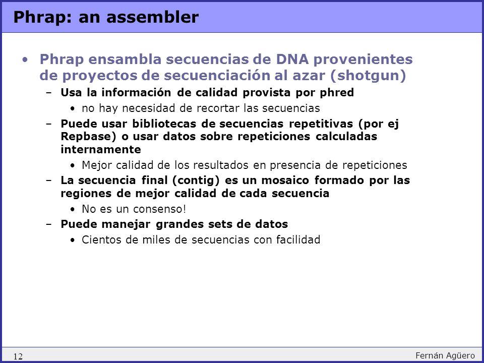 12 Fernán Agüero Phrap: an assembler Phrap ensambla secuencias de DNA provenientes de proyectos de secuenciación al azar (shotgun) –Usa la información de calidad provista por phred no hay necesidad de recortar las secuencias –Puede usar bibliotecas de secuencias repetitivas (por ej Repbase) o usar datos sobre repeticiones calculadas internamente Mejor calidad de los resultados en presencia de repeticiones –La secuencia final (contig) es un mosaico formado por las regiones de mejor calidad de cada secuencia No es un consenso.