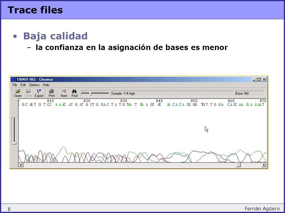 19 Fernán Agüero Phred / Phrap /Consed pipeline Chromat_dir Phd_dir Edit_dir Assembly viewing/editing Consed Assembly Phrap assembled contigs - seqs_fasta.screen.contigs assembly file - seqs_fasta.screen.ace# Vector screening and masking Cross_Match (local alignment program) x vector.seq screened/masked file - seqs_fasta.screen Conversion - phd to fasta phd2fasta.pl nucleotide sequences - seqs_fasta quality values - seqs_fasta.screen.qual Quality (confidence) values assignment Phred phd files - *.phd Input chromatogram files Finishing Consed