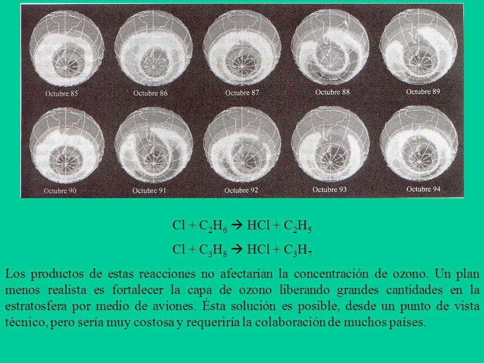 Cl + C 2 H 6 HCl + C 2 H 5 Cl + C 3 H 8 HCl + C 3 H 7 Los productos de estas reacciones no afectarían la concentración de ozono.