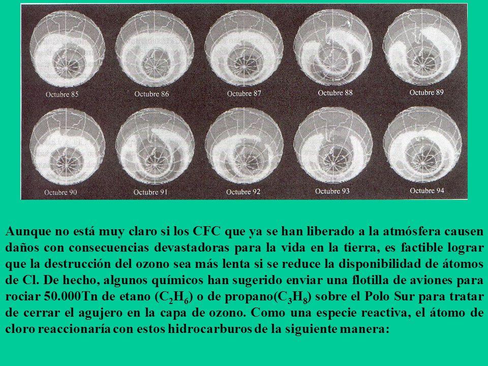 Aunque no está muy claro si los CFC que ya se han liberado a la atmósfera causen daños con consecuencias devastadoras para la vida en la tierra, es factible lograr que la destrucción del ozono sea más lenta si se reduce la disponibilidad de átomos de Cl.