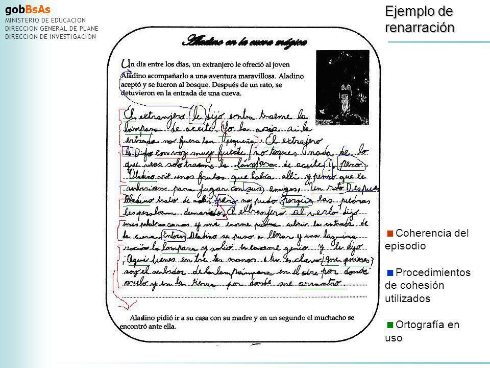 gobBsAs MINISTERIO DE EDUCACION DIRECCION GENERAL DE PLANEAMIENTO DIRECCION DE INVESTIGACION Coherencia del episodio Procedimientos de cohesión utiliz