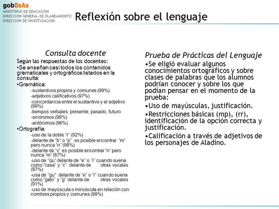 gobBsAs MINISTERIO DE EDUCACION DIRECCION GENERAL DE PLANEAMIENTO DIRECCION DE INVESTIGACION Reflexión sobre el lenguaje Reflexión sobre el lenguaje C