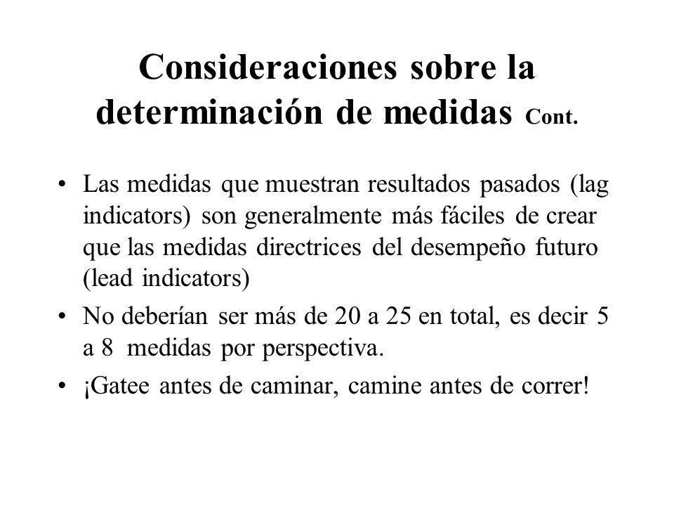 Consideraciones sobre la determinación de medidas Cont. Las medidas que muestran resultados pasados (lag indicators) son generalmente más fáciles de c