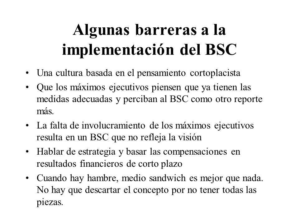 Algunas barreras a la implementación del BSC Una cultura basada en el pensamiento cortoplacista Que los máximos ejecutivos piensen que ya tienen las m